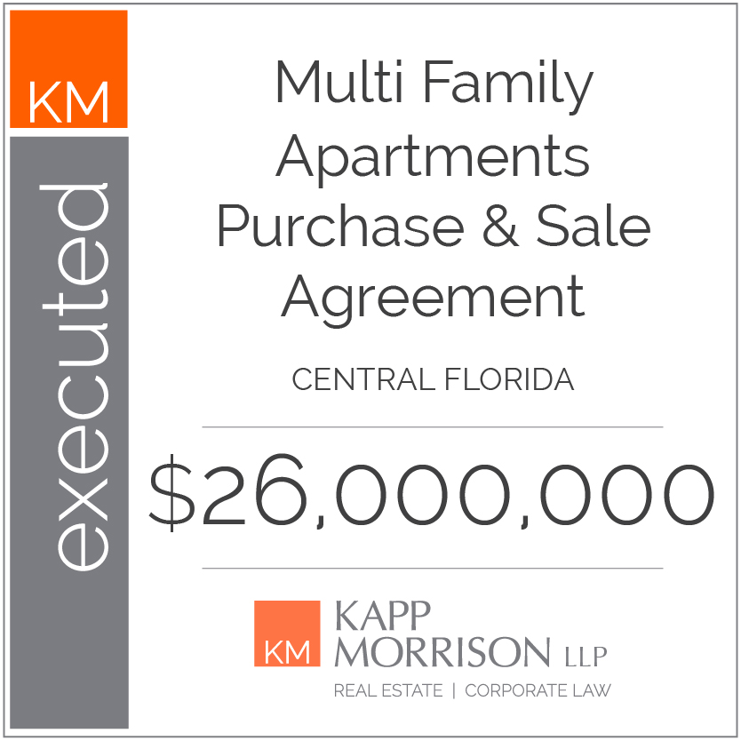Kapp Morrison LLP Law Firm Boca Raton, executed apartments purchase and sale agreement central florida