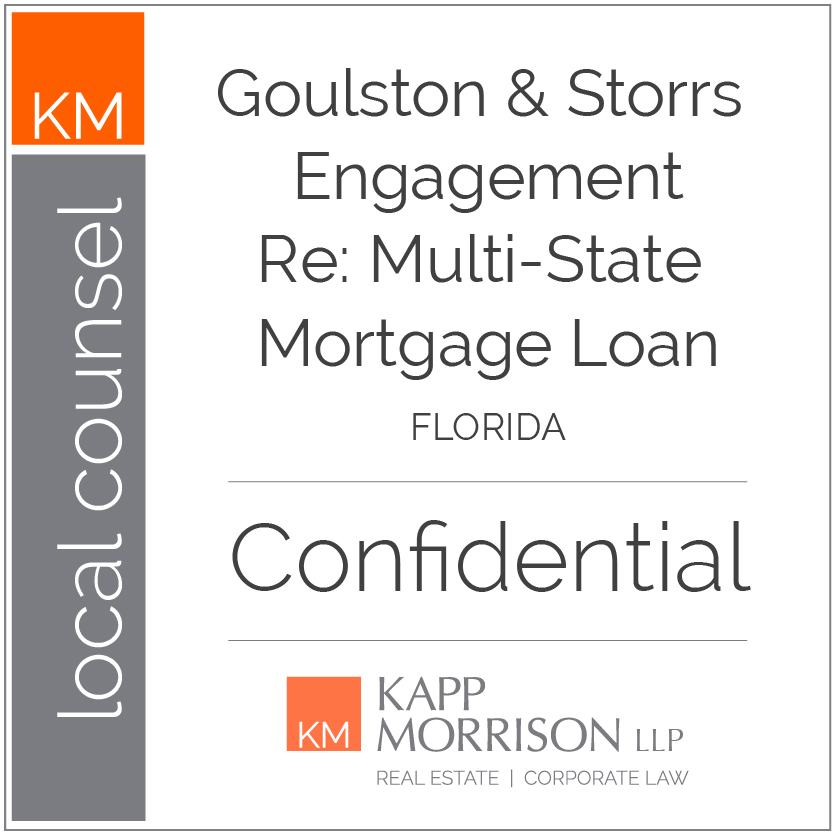 Kapp Morrison, Local Counsel, Goulston and STorrs