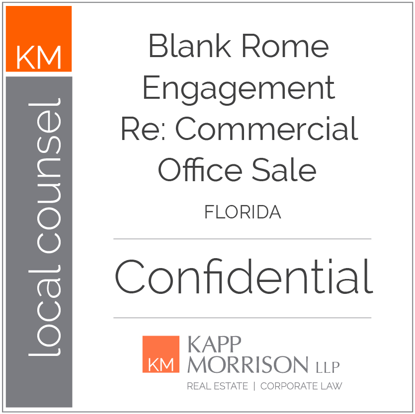 Kapp Morrison, Local counsel, Commercial Office Sale